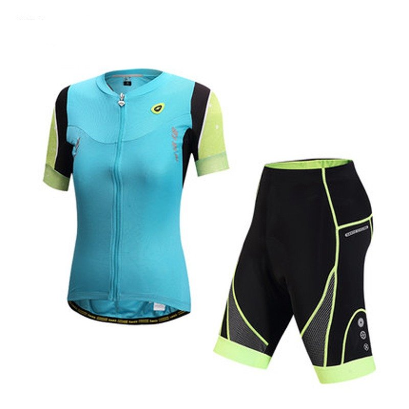 Santic Blue Womens  Cycling Shorts Short Sleeves Jerseys Sets Cycling Suit Bicycle Bike Suits S-XL<br><br>Aliexpress