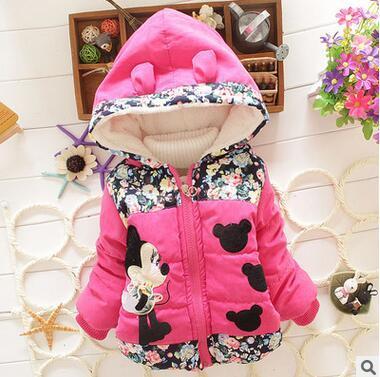 Осень/зима 2016 дети мода мультфильм ребенка пальто, с капюшоном цветы теплые хлопка мягкой одежды девушек