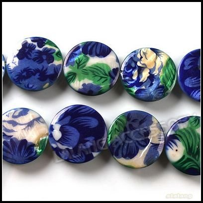 3Strings/Lot Wholesale Blue Flowers Disc Shell Beads Natural Loose Shell Beads For Jewelry Necklace DIY Making 25mm 111505(China (Mainland))