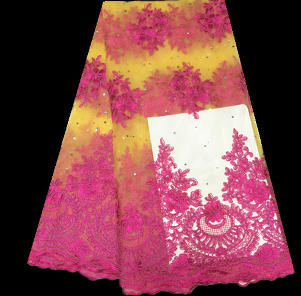 (5yards/lot)FC1- 4 best selling African net lace fabric in fuchsia+yellow,fashionable French lace fabric for dress!(China (Mainland))