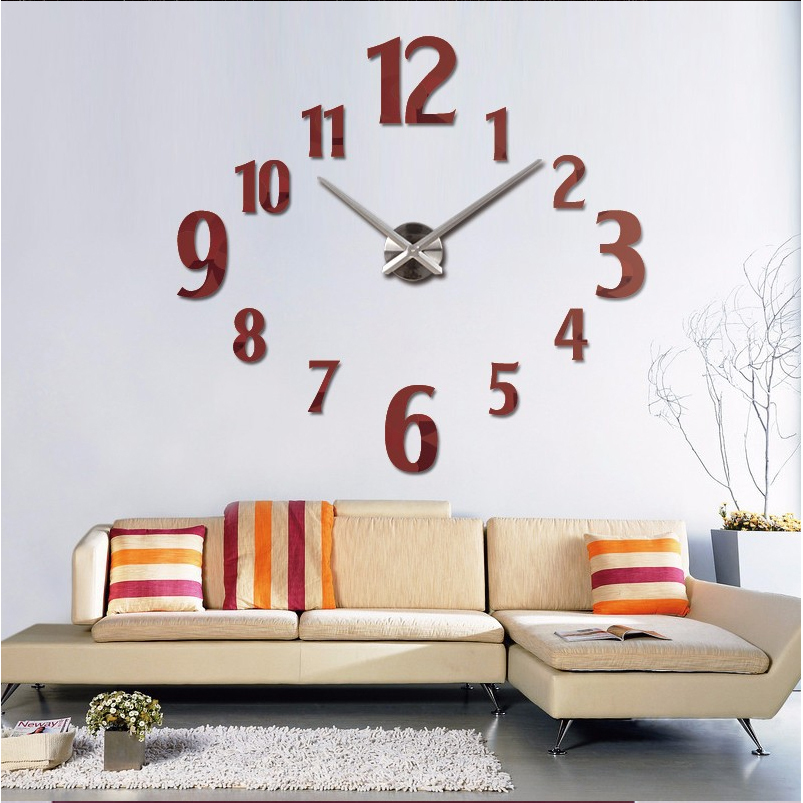 Buy 2016 new 3d diy wall clock horloge for 3d acrylic mirror wall sticker clock decoration decor