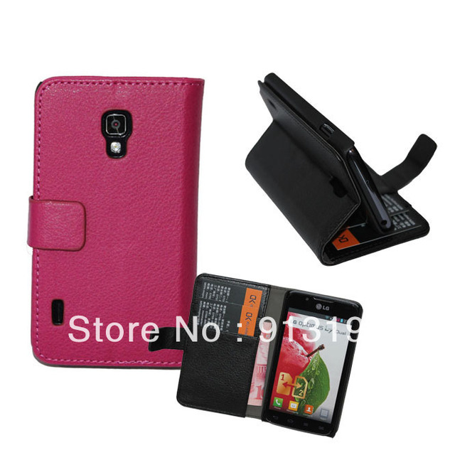 Free Shipping Flip Leather Wallet Stand Case Cover Skin for LG Optimus L7 II Dual P715 With Holder Credit Card mix color