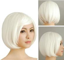 DYZ 622+++ Fashion Lady Mens Short Straight Anime Layered White Hair Cosplay Costume Wig(China (Mainland))