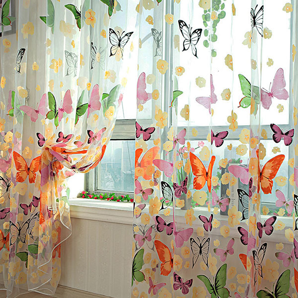 Best Selling New Butterfly Printed Tulle Voile Door Window Balcony Sheer Panel Screen Curtain(China (Mainland))