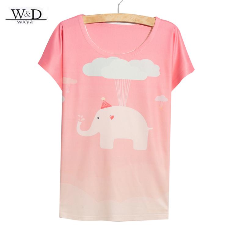 2015 New Arrival Cute Flying Elephant Print Tshirt women(China (Mainland))