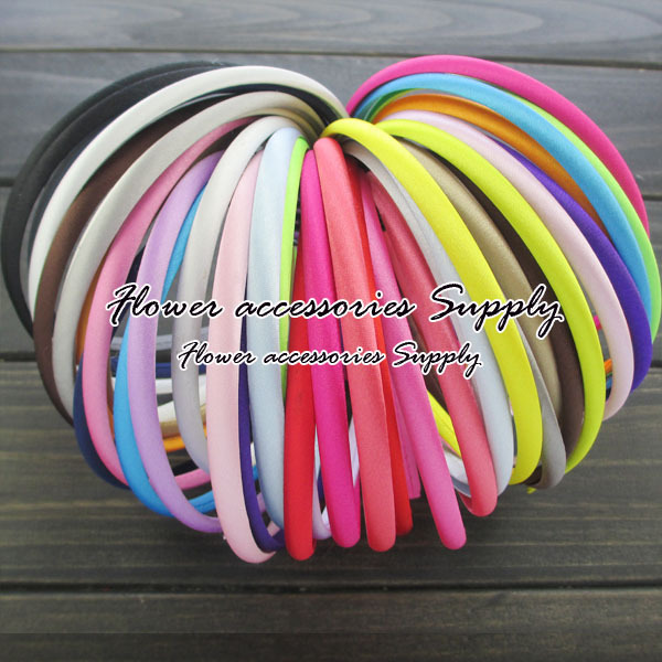 EMS Free Shipping 1000pcs/lot Grosgrain Ribbon Resin Covered Headbands Plastic Hairbands Head Band 20 colors Hair Decoration(China (Mainland))