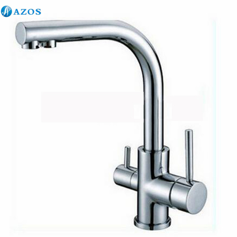 Contemporary New Polished Chrome Brass Kitchen Faucet Dual Handels Vessel Mixer Tap Pure Water Faucet Hot And Cold CFLT024(China (Mainland))