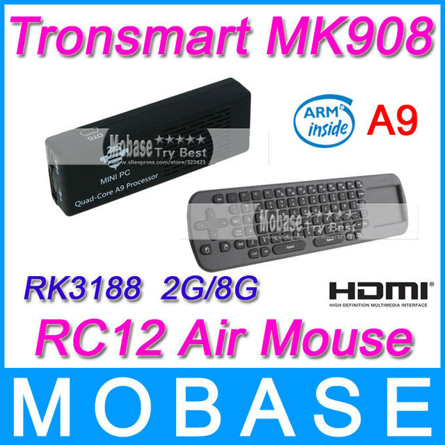 Tronsmart MK908 Quad Core TV Box Android 4.1 OS Mini PC RK3188 Cortex-A9 1.8GHz 2G/8G Bluetooth WiFi HDMI [Measy RC12 Air Mouse]
