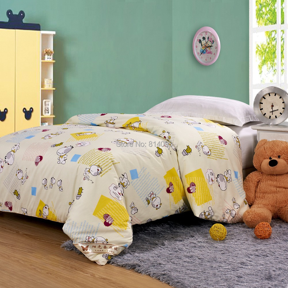 100% Mulberry Silk Blanket Kids Childrens Silk Comforter Summer 0.5KG Cartoon Cotton Cover 120*150cm(China (Mainland))