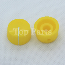 Free Shipping 10PCS Yellow Round Set Pointer Knob For Guitar Amp Effect Pedal Over Drive Cabinet Speaker shaft hole