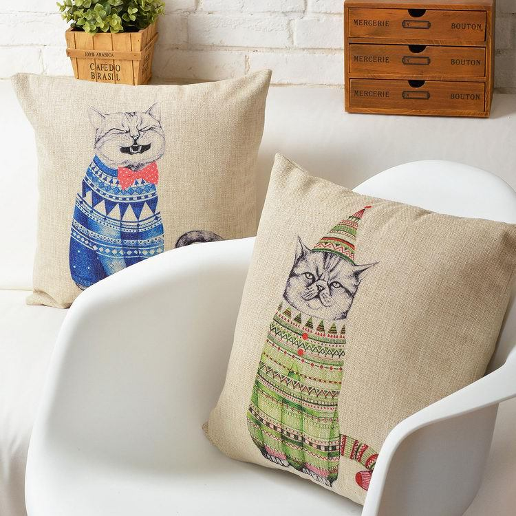 Free shipping Christmas gift lovely funny laugh cat in sweater Pattern cushion cover home car decorative throw pillow case(China (Mainland))