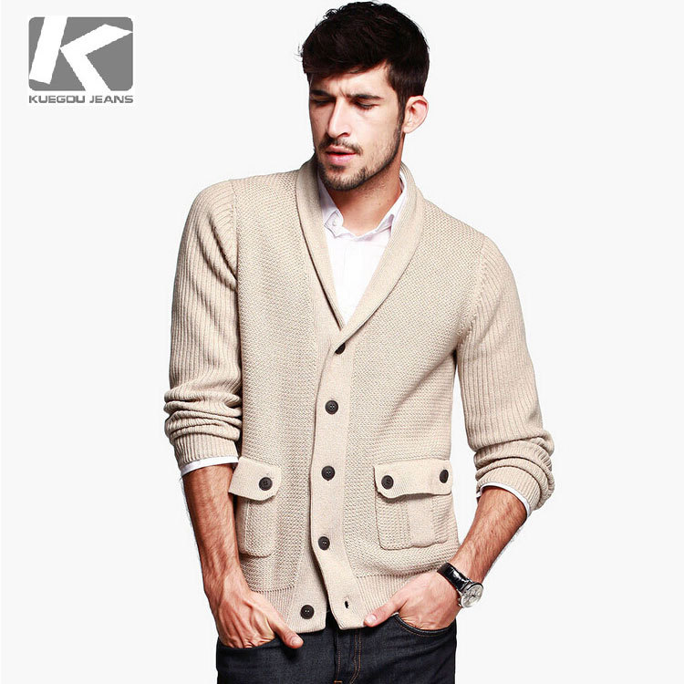 Men Thick Cotton Knitted Cardigan / Mediterranean Style
