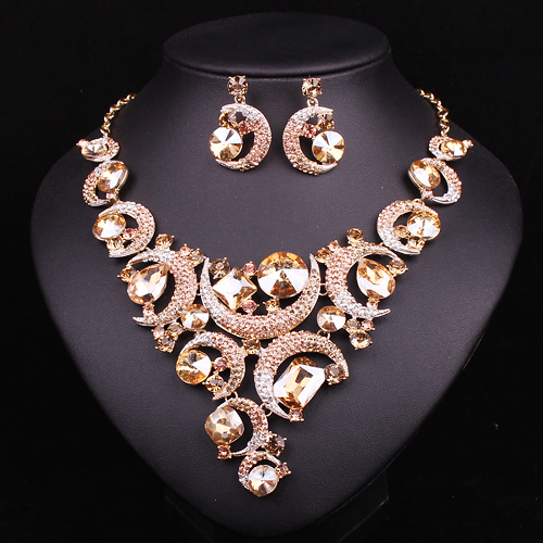 Buy fashion crystal necklace and earrings for Costume jewelry for evening gowns