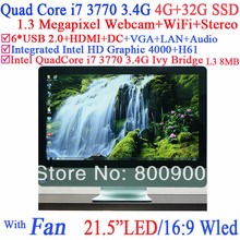 Wholesale all in one pc with 16:9 WLED screen Intel H61 Quad core i7 3770 3.4Ghz 8 Threads Intel HD 4000 Graphic 4G RAM 32G SSD(China (Mainland))