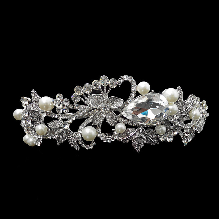 2014 NEW wedding crystal hair tiara Vintage rhinestone pearl crown bridal accessories XB55 - Kay's Wedding store