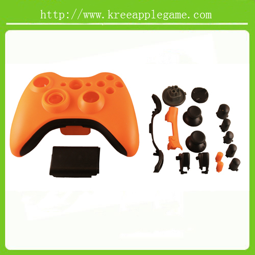 Replacement full Housing Shell set for XBOX 360 wireless Controller - Orange/black(China (Mainland))