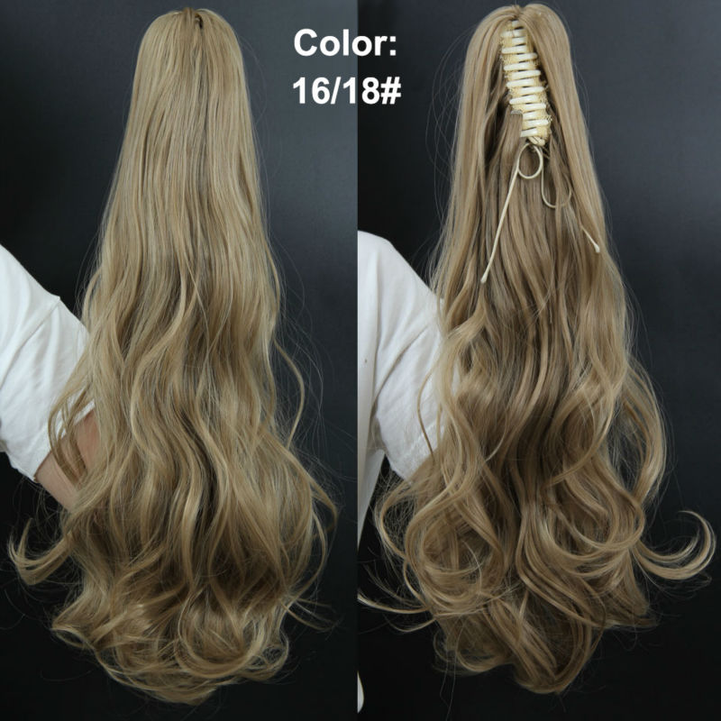 21″ 140g Long Curly Claw Drawstring Synthetic Ponytails Hair Extension Blond Pony Horse Tail Fake Hair Tress Hairpiece PT128