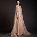 Lebanon Real Images Women Prom Beaded Saudi Arabia Long Evening Dresses 2016 Sleeved Abaya Dubai Kaftan