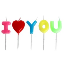 """I Love You"" Letter Happy Birthday Candles Toothpick Cake Candles Party Decor(China (Mainland))"
