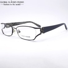 High Quality Black Women/Lady/Female Stainless Steel Spring Hinge Frame Fahion With Shining Cristal pin Eyeglasses MGRM00386C9
