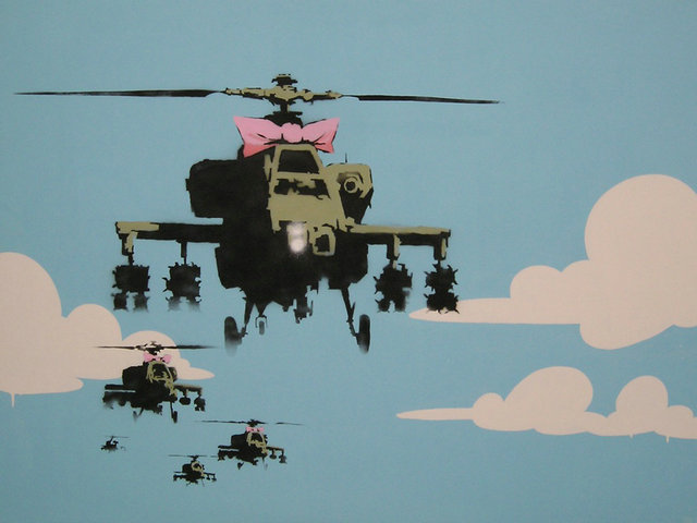 Banksy Graffiti Street Art Silk Fabric Poster Funny Pictures 24x32inch Helicopter 039(China (Mainland))