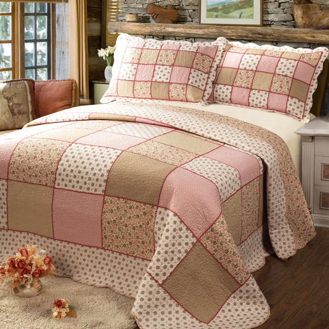 100 cotton patchwork quilting by piece set bed cover bedspread pastoral lace quilt bed sheet. Black Bedroom Furniture Sets. Home Design Ideas