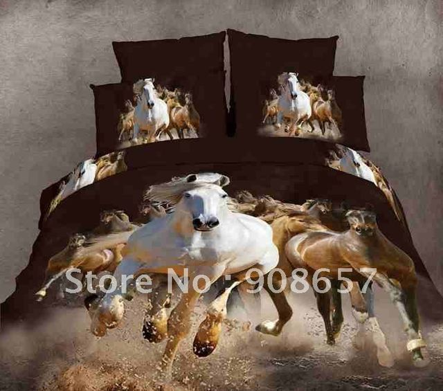 new 500 thread count brown horse animal pattern 100% cotton duvet covers sets 4pcs for full/queen comforter or quilt doona #N
