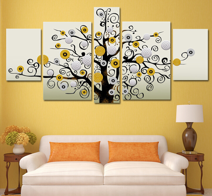 canvas abstract oil painting tree multi panel 5 piece canvas wall art