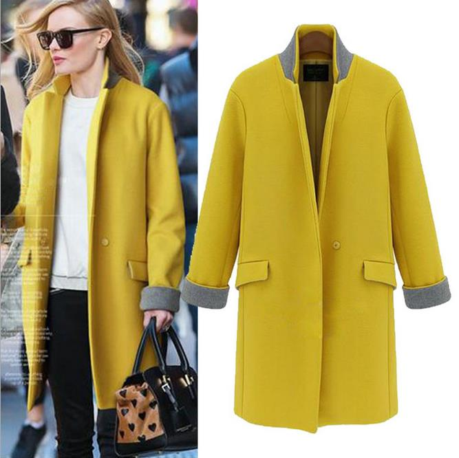 2015 autumn winter new European style big yards long section buckle Slim Maone coat