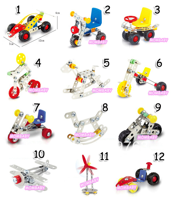 Metal Alloy Assembled Cars Puzzle Toys Boys DIY Assembly Car Plane Model - Mombaby's store
