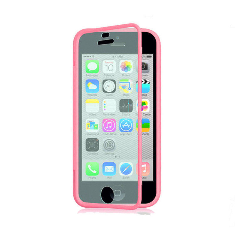 10 pcs/lot Transparent Hybrid Soft Silicone TPU + PC Wrap Flip Case Back Cover Built Screen Protectorfor iphone 5c - Trends-Mall store