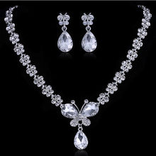 Bridal Party Wedding Jewelry Set Clear Crystal Butterfly Necklace Drop Earrings Party Supplies(China (Mainland))