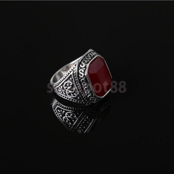 Fashion Man Punk Rings Vintage Red Gem Finger Ring With Red Rhinestone
