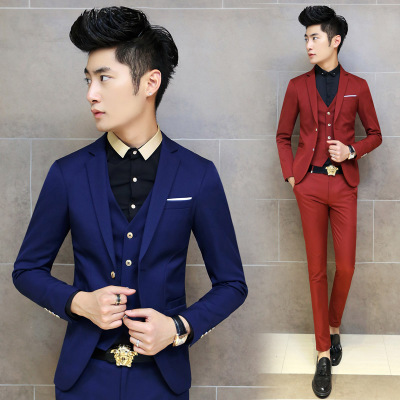 2014 Slim Fit Social Dress Business Suit Man Formal Blazer Brand Casual Black Male Vintage Classic Red Trendy Masculine Cloth(China (Mainland))