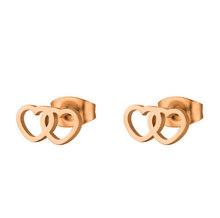Jisensp רומנטי לב שרשרת לנשים תליון תכשיטי סט חלול החוצה פירסינג אהבת עגילי זהב נירוסטה עגילים(China)