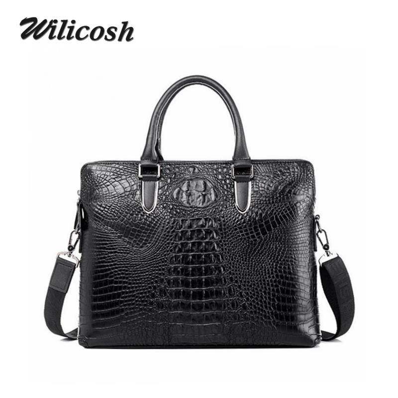 2016 New Design Crocodile Genuine Leather Men's Shoulder Bags Brand Men Messenger Bags Men Handbags Briefcase Travel Bags DB5666(China (Mainland))