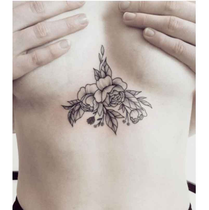 Grosshandel Bt02 1 Stuck Blume Brust Temporare Tattoo Mit Art Leaf