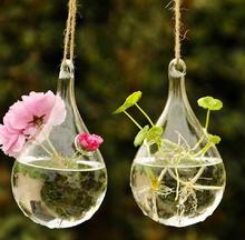 Hanging Drop Round Crystal Flower Vase Hydroponic Container Home Decor Exquisite Free shipping #69718(China (Mainland))