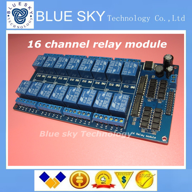 Free Shipping 1pcs 12V 16 Channel Relay Module Interface Board For Arduino PIC ARM DSP PLC With Optocoupler Protection(China (Mainland))