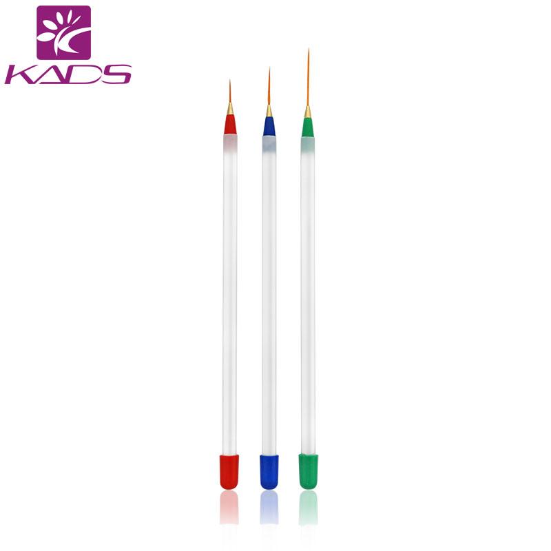 KADS Nylon art brush of 3pcs/set Acrylic Nail Art Builder Brush Drawing Pen Nail Brush Kit Painting Tools Design Nail Art(China (Mainland))