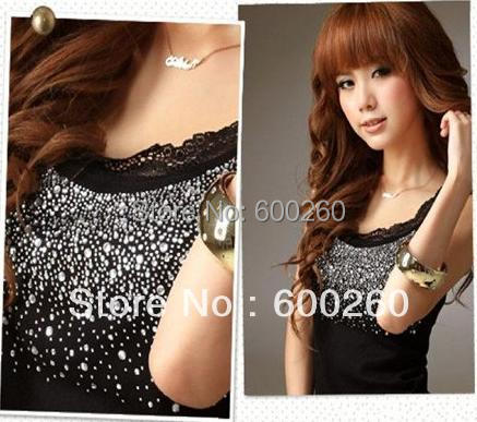 ladies cotton T-shirt Fashion lace beaded Tank Tops clothes wear ladies camisole sexy racer Camisole Free Shipping 5189