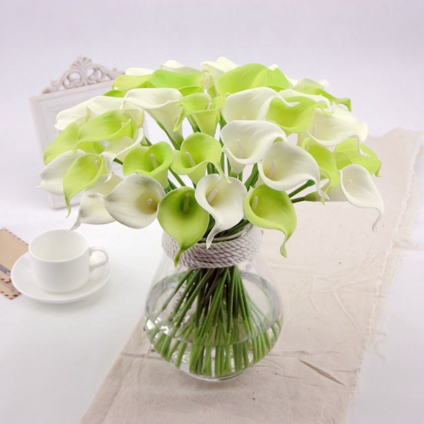 Artificial flowers pu calla lily real touch decorative for Decorative flowers for crafts