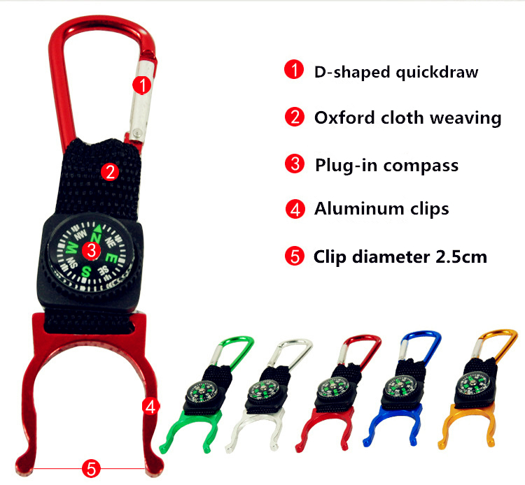 100% New Fashion Carabiner Water Bottle Holder Clip Strap With Portable Mini Digital Compass Outdoors Hiking Tools Hot Selling(China (Mainland))