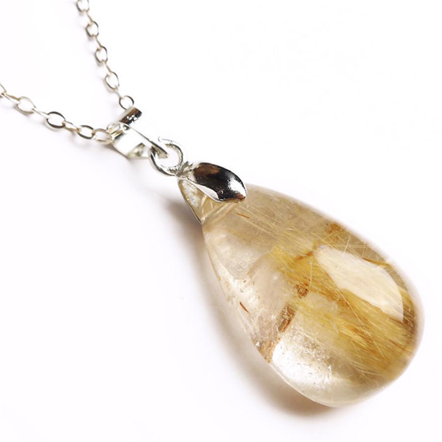 Women Femme Genuine Natural Yellow Gold Hair Titanium Rutilated Stone Quartz Crystal Waterdrop Necklace Teardrop Bead Pendant(China (Mainland))