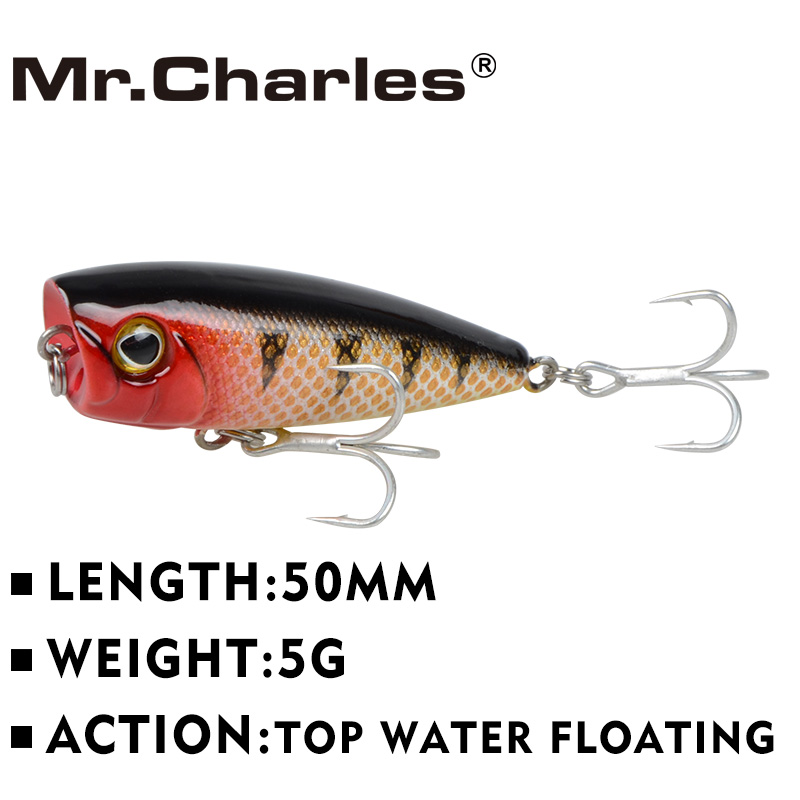 Mr.Charles CMCS 144 fishing lures assorted colors, popper 50mm 5g, Floating,topwater,hard bait lure(China (Mainland))