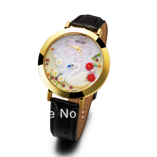 Wholesale Hot Sale 2013 New Fashion Womens Watch Round Dial Personality MINI Swan Black Leather Watch Free &amp; Drop Shipping<br><br>Aliexpress