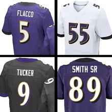 Mens #89 Steve Smith Sr #5 Joe Flacco Terrell Suggs #9 ustin Tucker Purple Black White Elite 100% Stitched Logos(China (Mainland))