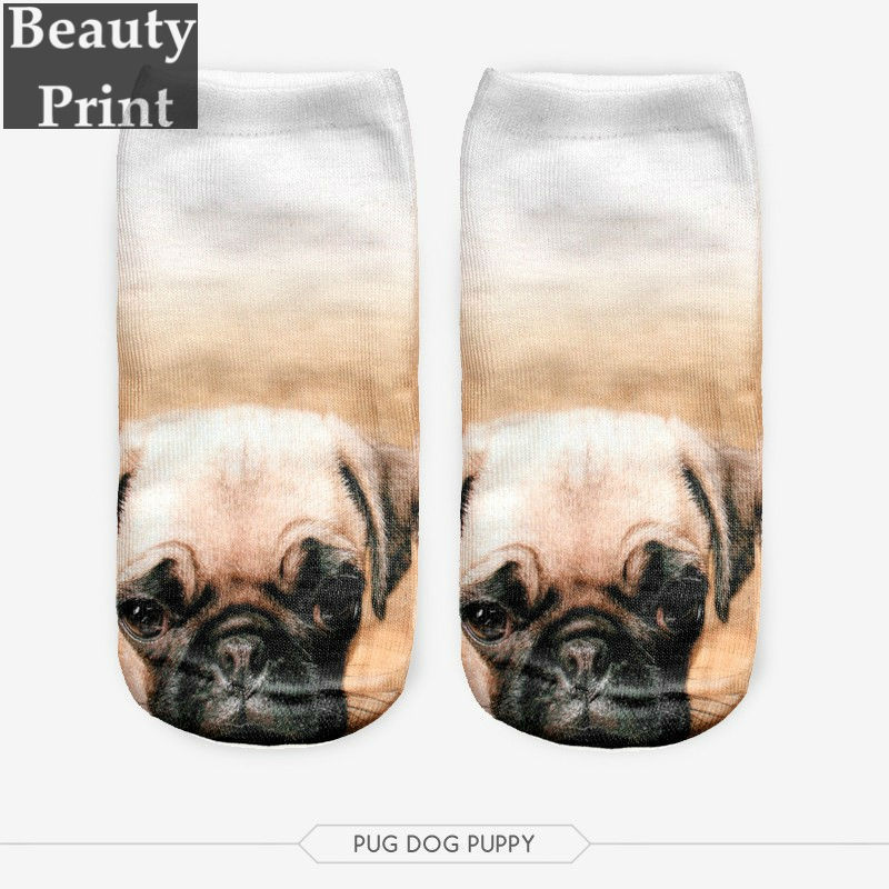 Summer Style Wholesale Fashion Brand Women Cute Funny Kawaii Harajuku Transparent active pug dog puppy 3D