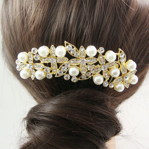 Gorgeous Bridal Wedding Hair accessories Bridal Pearl Flower Hair Comb Crystal(China (Mainland))