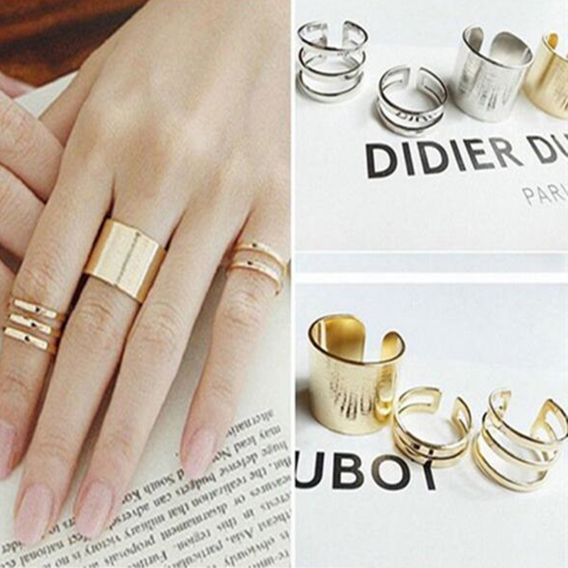3 Pcs Punk Gold Silver Rings Female Anillos Stack Plain Band Midi Mid Finger Knuckle Rings Set for Women Anel Rock Jewelry(China (Mainland))